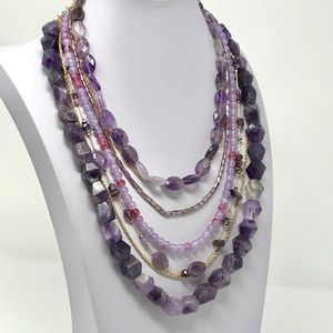 LYDELL NYC Semi-Layered Beaded Necklace Purples